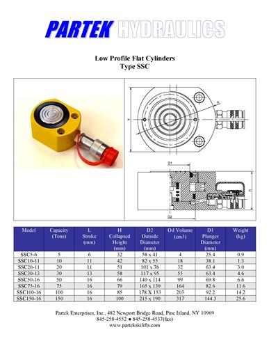 10 Ton Flat Profile Hydraulic Cylinder